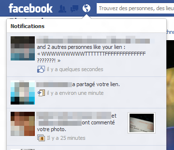 Facebook notifications miniatures