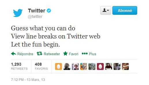 Twitter saut de ligne