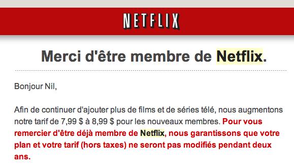 Netflix Canada prix