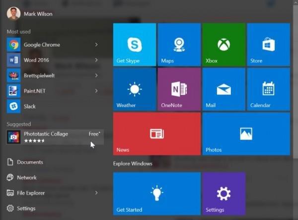 Windows Store démarrer suggestions