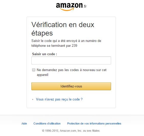 Amazon double authentification