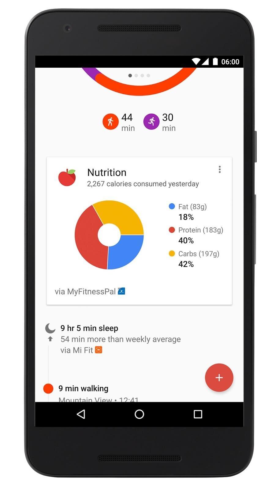 Google Fit données nutrition