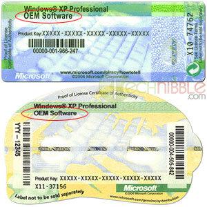 sticker autocollant Windows OEM licences