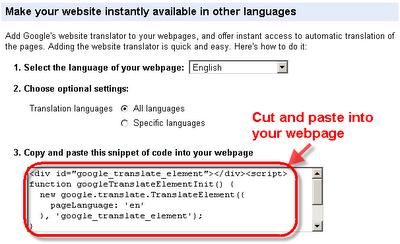 google translate code