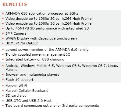 CPU ARM Marvell Armada 610