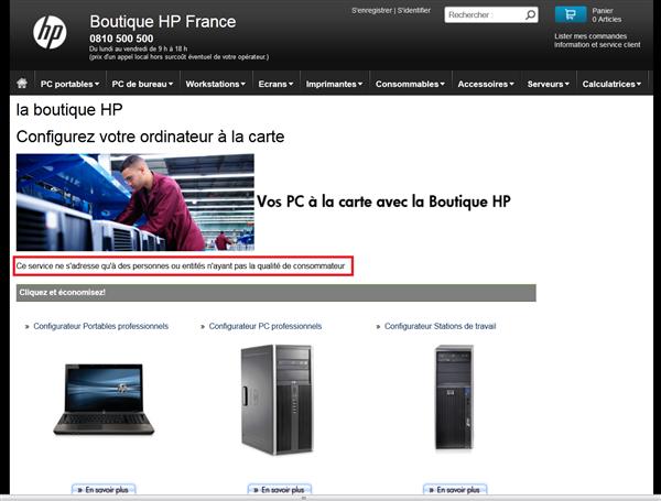 HP vente professionnel consommateur