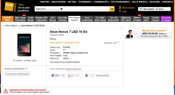 Fnac Nexus 7 Indisponible