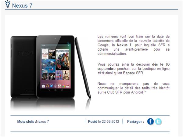 SFR Nexus 7 Annonce