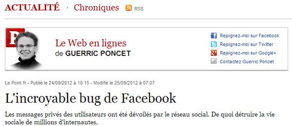 Chronique Facebook Bug Le Point