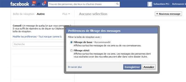 facebook boite de reception