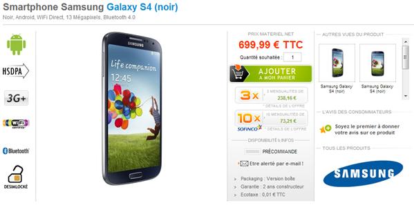 Galaxy S4 Materiel.net