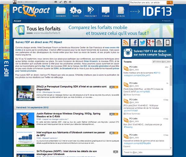 Intel IDF 2013 Thématique