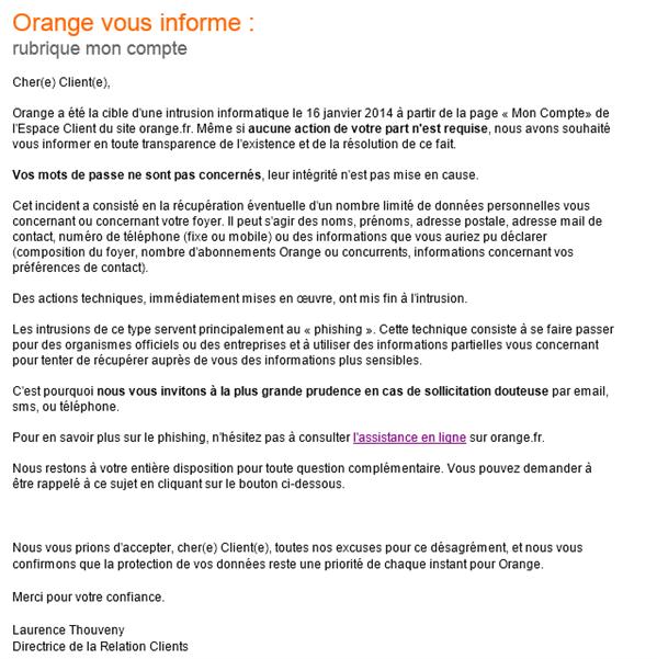 Mail orange intrusion