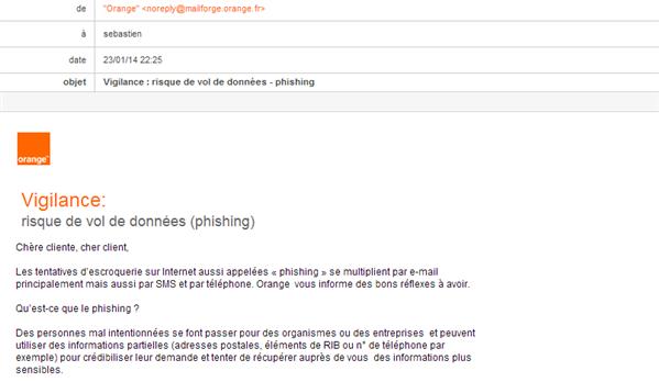 Orange mail phishing