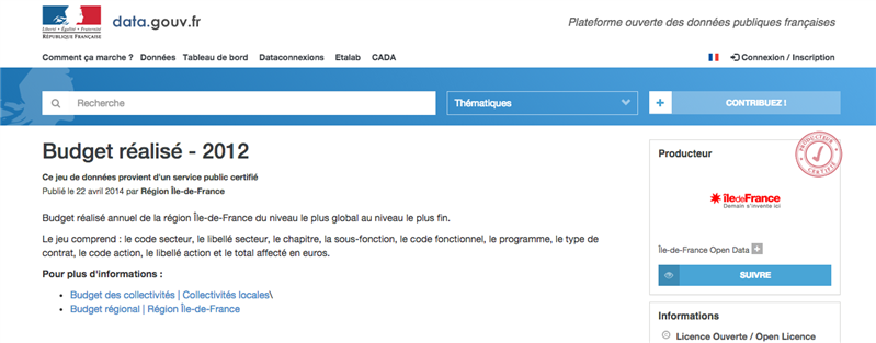 data.gouv.fr budget ile de france
