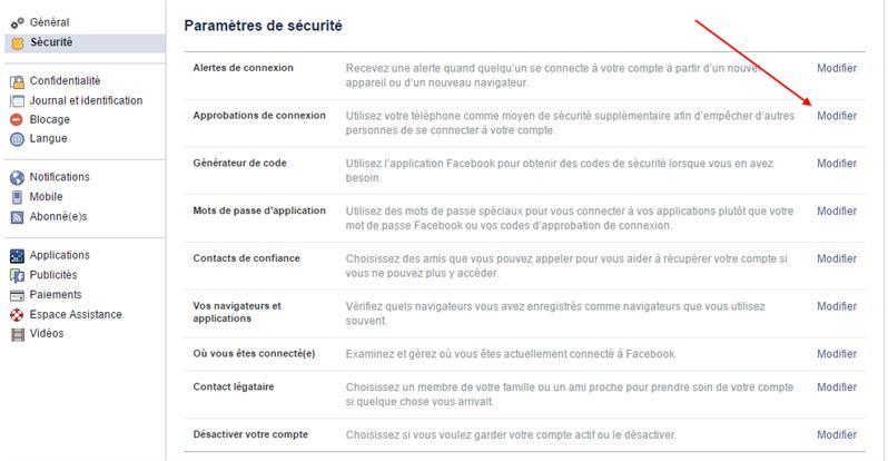 facebook sécurité approbation attaques état