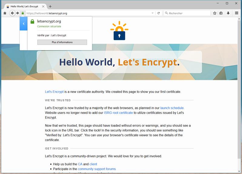 let's encrypt firefox certificat