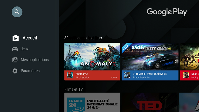 Android TV Play Store Nouveau look