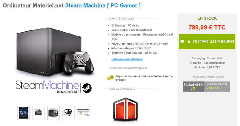 Steam Machine Materiel.net