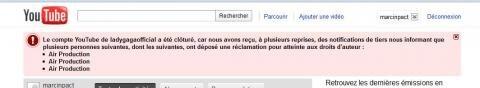ladygaga youtube air production piratage