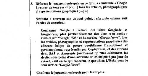 google décision news search presse belgique