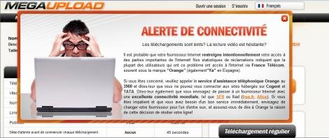MegaUpload lenteurs Orange message