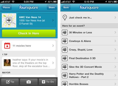 Foursquare checkin lieux evenements