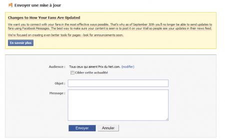 Facebook mise à jour