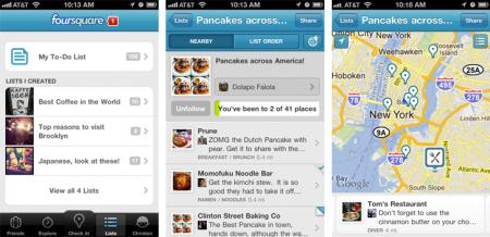 Foursquare liste mobile vidéo check in
