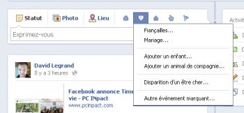 Facebook Timeline Evenements