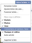 Facebook Mises à jours listes