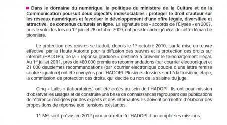 hadopi 11 millions d'euros 2012
