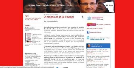à propos de la loi Hadopi François Hollande