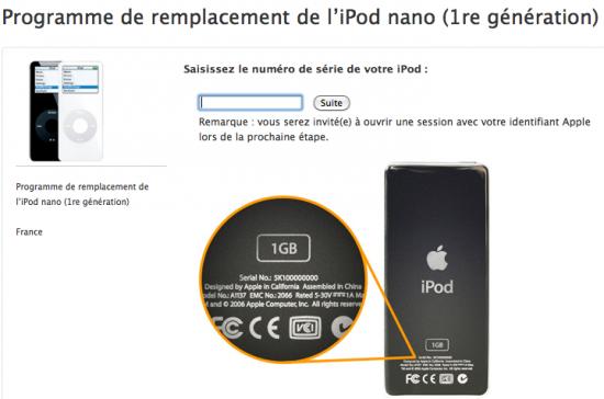 iPod nano programme remplacement