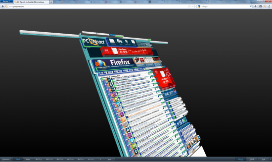 Firefox 11 3D Tilt DOM Aurora