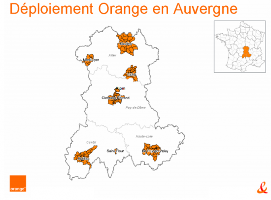 Orange FTTH fibre optique Auvergne