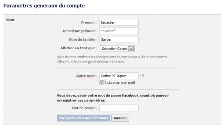 Facebook autre nom compte