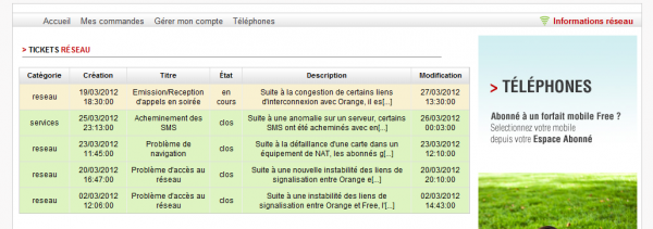 free mobile informations reseau
