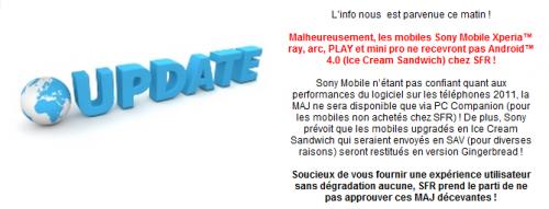 SFR Xperia smartphone Android 4.0