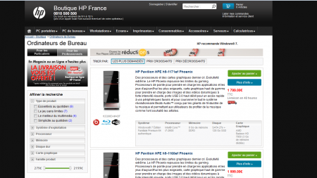 HP site internet vente liée