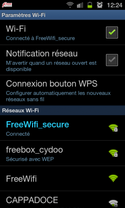 Free Wi-Fi Secure Galaxy SII Samsung Android