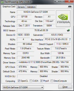 ASUS K75VM GPU Z