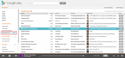 Google Music Shared with me