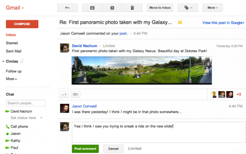 Google+ gmail integration