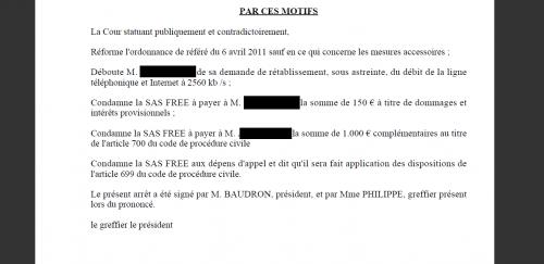 Free débit Cour d'appel de RIOM