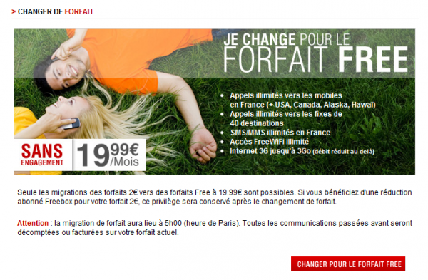 free mobile changement forfait