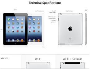 Fiche techniques iPad US