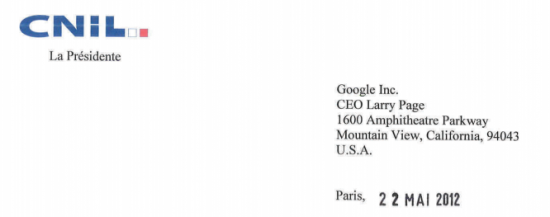 courrier cnil google