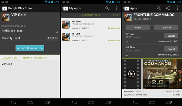 Google Play abonnement android