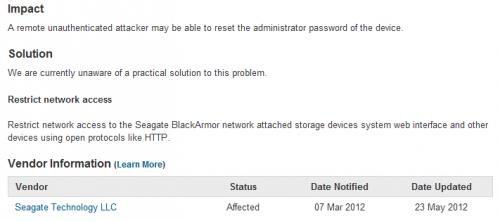 Seagate BlackArmor faille sécurité